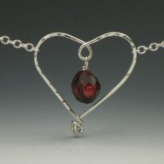 Oxblood Pearl Heart Necklace, Maroon Faceted Pearl, Sterling Silver Wire Jewelry