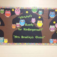 Kindergarten owl bulletin board I made today.