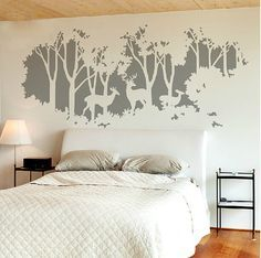 White Tree Decal-Deer Tree Wall Sticker-Forest Tree Decals For Bedroom-Vinyl Living Room Tree Decals-Wall Sticker Wall Art-Nature Fawn Decal
