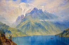 """Monte Civetta, seen from lake Alleghe, Italy"" (1867), Elijah Walton [Birmingham, Museum of arts]"