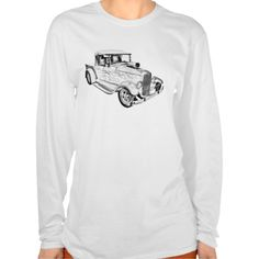 Model A Ford Pickup Hot Rod Illustration Womens T-shirt