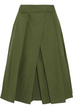 Jil Sander - Pleated Cotton-poplin Midi Skirt - Army green - FR38