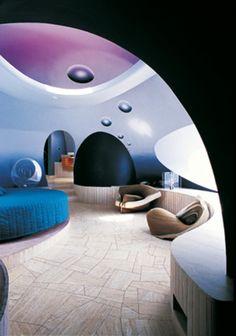 """Bedroom, Pierre Cardin's """"bubble house""""."""