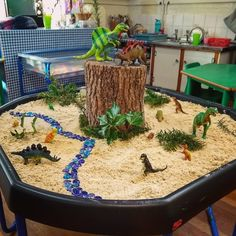 Today's dinosaur sand tuff tray 🌿🦕🦖🌲 the children loved creating stories with the dinosaurs today, and exploring the scents and textures of the plants we added So much rich language! Eyfs Activities, Nursery Activities, Dinosaur Activities, Creative Activities, Preschool Activities, Sensory Table, Sensory Bins, Tuff Tray Ideas Toddlers, Dinosaur Play