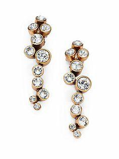 Oscar de la Renta Crystal Cluster Clip-On Earrings