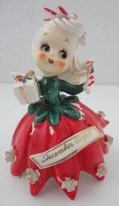 Vintage Christmas December Angel Ceramic Figurine TMJ Japan