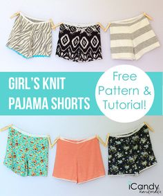 Girl Charlee Fabrics: Tutorial Tuesday :: Girl's Knit Pajama Shorts with FREE Sewing Pattern from iCandy Handmade Sewing Patterns Free, Free Sewing, Sewing Tutorials, Clothing Patterns, Tutorial Sewing, Free Pattern, Sewing Projects, Knit Patterns, Short Pattern