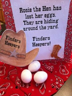 Hunting eggs is not just for Easter, an egg hunt game is a fun activity for a farm party. See more John Deere birthday party ideas at www.one-stop-par… - Rodeo Party, Cowboy Theme Party, Farm Themed Party, Barnyard Party, Farm Party Games, Cowboy Party Games, Western Party Games, Horse Party, Farm Party Kids