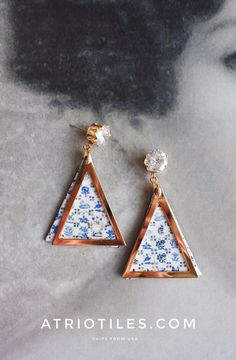Portugal Lisbon Antique Azulejo Tile Replica TRIANGLE Post  Earrings- 1837  Pasteis de Belem Delft Style - Valentine's Day Ships from USA