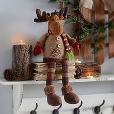 With his cozy mittens and scarf, our Rustic Reindeer Shelf Sitter is sure to brighten up your mantel or bookshelf. With red and green plaid accents, this festive little guy can sit just about anywhere. Christmas Moose, Christmas Sewing, Felt Christmas, Rustic Christmas, Winter Christmas, Christmas Holidays, Christmas Crafts, Christmas Ornaments, Handmade Christmas Decorations