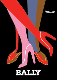 Poster & Canvas available! Bally Shoes Villemot Print Poster French Vintage Art