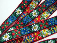 3 yard EDELWEIS & HEARTS Jacquard trim. White, Blue, red, green, yellow on black. Red edges. 1 inch wide. 949(2)-A - LOVE THIS SO MUCH!