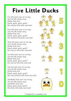 Five Little Ducks Song Sheet (SB10843)