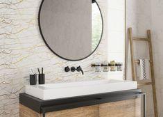 Глянцевый металлический бордюр в ванной комнате - стильный элемент декора. Бордюр для плитки способен освежить интерьер, подчеркнуть цвет плитки, мебели, добавить акцент #декор#бордюрдляплитки#уютнаякомната#модерн#керамогранит#плитка#золото#трендыдизайна Calacatta, Interior S, Mirror, Bathroom, Furniture, Home Decor, Washroom, Decoration Home, Room Decor