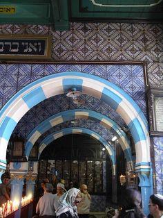 Inside El Ghriba Synagogue, Djerba off the coast of mainland Tunisia