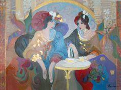 "Original Painting ""Ladies At Tea"" by Isaac Maimon"