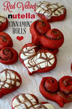 Red Velvet Nutella Cinnamon Rolls for Valentine's Day! YUM! See more heart-inspired recipes on www.prettymyparty.com.