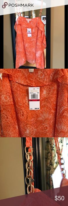 Michael Kors Sheer Orange Top Size xS Brand New Michael Kors Sheer Orange Top Size xS Brand New with Tag Gold chain link straps, shirt had a slight gold overtone. Bundle with my other items for an extra discount!!! Happy Poshing!! Michael Kors Tops Blouses