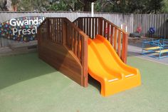 This piece of equipment is made from spotted gum hardwood with a bright orange fiberglass slide on one side and stairs on the other. If you're interested in purchasing custom equipment from us please email or call us #syntheticgrass #softfall #playequipment #custommade #fun #rubberwetpour #playground Play Equipment, Epoxy Floor, Commercial Flooring, Central Coast, Wet And Dry, Newcastle, Rainbow Colors, All The Colors, Playground