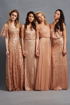 """""""Camilla"""" sequin bridesmaid dress with sleeves, """"Natalya"""" scoop-neck gown, """"Emmy"""" tulle dress, and """"Courtney"""" beaded bridesmaid gown. #BridesmaidDresses Photography: Courtesy of Donna Morgan. Read More: http://www.insideweddings.com/news/fashion/glitzy-bridesmaid-dresses-your-girls-will-want-to-wear-again/1998/"""