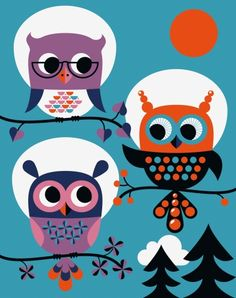 three owls by Ingela P Arrhenius