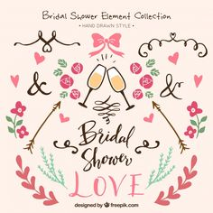 Assortment of hand-drawn bridal shower elements Free Vector