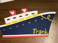 I make these customized door decorations for you to take on your Disney cruise! If youve never cruised with Disney in the past, you will find that many of the state rooms have decorations on their doors.  Each ship measures approximately 7 inches by 5.5 inches and made from cardstock. I can add your last name, your ships name, or any other name you want. Specify whether you would like the name at the bottom like in the first picture or slanted like in the second picture. THEY ARE NOT…