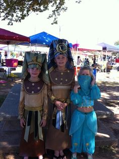 Hans crafted Pharaoh boys costumes