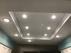 Remodeled fluorescent dome light in condo kitchen. Six inch LED lights in center. Four 5 inch LED bulbs in perimeter. All are dimmable. Kitchen Ceiling Lights, Kitchen Lighting, Condo Kitchen, Kitchen Remodel, Acoustic Ceiling Tiles, Beach House Decor, Home Decor, Ceiling Design, Kitchen Design