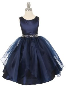 Dazzling big stones on the waist of this Tween Dress! Navy Blue party dress with organza overlay is a T length dress perfect for that special party, Junior Bridesmaids, Teenage Parties or Senior Flower Girls.