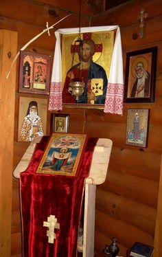Guest house at Hermitage of the Holy Cross, Wayne, WV Orthodox Prayers, Orthodox Christianity, Taxidermy Decor, Prayer Corner, Home Altar, Church Interior, Oriental, Byzantine Art, Home Icon