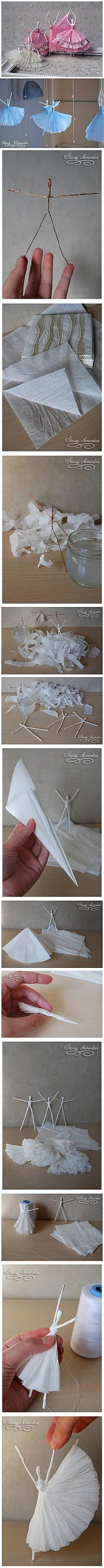 DIY Crafts for Girls - Napkin Paper Ballerina - So simple and crafty! Making these today with my 6 year old daugther! Cute Crafts, Diy And Crafts, Crafts For Kids, Arts And Crafts, Simple Crafts, Diy Projects To Try, Craft Projects, Craft Ideas, Craft Tutorials