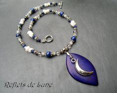 * Éclat de Lune * Collier lapis lazuli pierre de lune cristal de roche : Collier par lunartemis