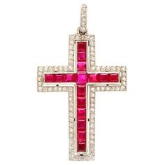 Ruby and diamond cross pendant set in platinum, with diamond bail. By Cartier, New York, ca. 1930 x Initial Pendant Necklace, Diamond Pendant Necklace, Drop Necklace, Pendant Set, Cross Pendant, Sapphire Pendant, Cross Jewelry, Cross Necklaces, Jewelry Necklaces