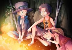 Tags: Anime, ONE PIECE, Monkey D. Luffy, Freckles, Portgas D. Ace, Wavy Hair, Sabo