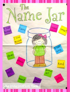 Theimaginationnook: The Name Jar and Short Vowel Necklace Beginning Of The School Year, First Day Of School, The Name Jar, Name Practice, Short Vowels, Mentor Texts, Classroom Community, Teaching Reading, Teaching Ideas