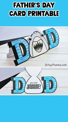 Celebrate Dads with this fun printable Shark Card for Father's Day with a fun shark pun saying! Kids can color the DAD card template and write a message on the inside. #kidscrafts #fathersday #artsymommadotcom