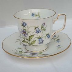 The Twiggery - Tea Party - blue floral english teacup, teacup