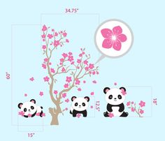 Pandas and Cherry Blossom Tree, Panda Decal, Panda Vinyl Wall Decal for Nursery, Kids, Childrens Room. $75.00, via Etsy.
