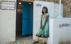 World Toilet Day, 19 Nov, is coming soon! Here's Kamini, a member of the school WASH Brigade, in front of the girls' latrine. World Toilet Day, School, Girls, Dresses, Fashion, Toddler Girls, Vestidos, Moda, Daughters