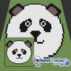 Panda Face Baby Blanket C2C Crochet Pattern - PDF Download