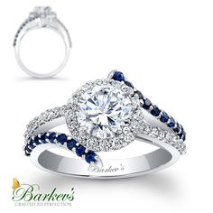 Barkev's Sapphire & Diamond Engagement Ring! 7857LBSW http://www.barkevs.com/engagement-rings/diamond-engagement-rings/engagement-ring-with-blue-sapphires-7857lbsw.html