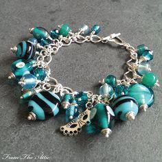 Gorgeous Luxury Indian glass aquamarine beads in this striking charm bracelet - #aquamarine #fromtheattic #bracelet #charmbracelet #jewellery #jewelry #fashion #accessories #beads #handmade #madeinuk #unique #giftsforher #jewellery #jewelry