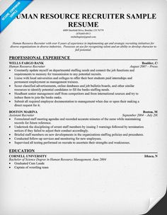human resource recruiter resume resumecompanioncom - Human Resources Resume Samples