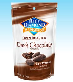 Blue Diamond Growers : Our Products : Oven Roasted : Dark Chocolate~  It's not easy to turn off your chocolate cravings and give up sweets. Now you don't have to. Our Dark Chocolate Oven-Roasted Almonds are made with real cocoa and loaded with rich chocolate flavor, blended with just the right amount of sugar and naturally no-calorie stevia extract. By combining the creamy rich flavor of real dark chocolate with our almonds, packed with nutrition and naturally loaded with vitamin E, we…