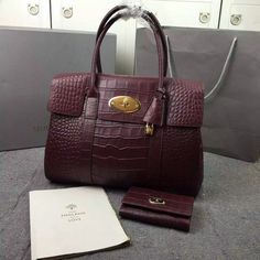 2016 S/S Mulberry Bayswater Tote Oxblood Deep Embossed Croc Print