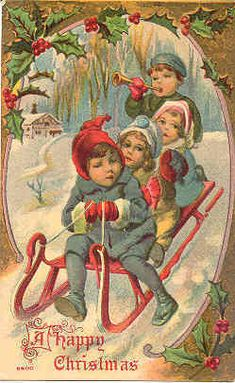""""""" A Happy Victorian Christmas """" Vintage Post Card with a Victorian setting, DB-USD with writing on back and in Excellent condition."""