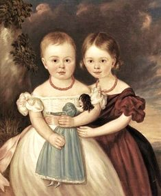 It's About Time: 19C American girls with dolls. Circa 1840s. More pictures at link.