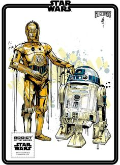Mitchy Bwoy signature Star Wars illustrations for Addict Clothing / Lucasfilm. Star Wars Droiden, Theme Star Wars, Star Wars Fan Art, Desenho Do Star Wars, C3po And R2d2, War Tattoo, Star Wars Personajes, Star Wars Prints, Movies And Series