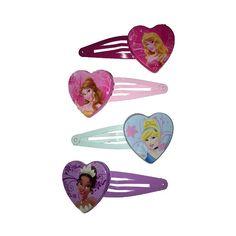 Disney prinsessen haarspelden. Setje van 4 haarspelden met op iedere speld het gezicht van een Disney prinses in een hartje.